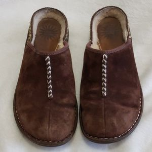 UGG Womens Brown Suede Lined Slip On Mules